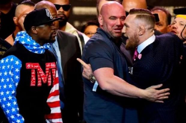 Burlas y amenazas en primer cara a cara entre Mayweather y McGregor