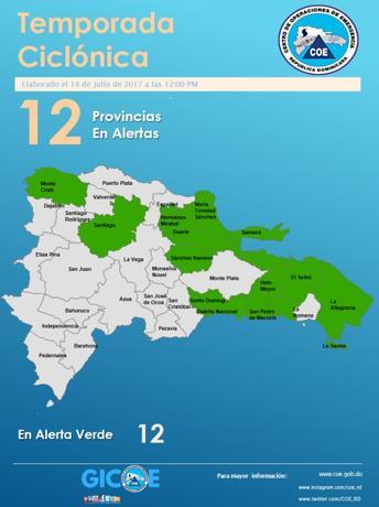 Elevan a 12 las provincias en alerta verde por ocurrencia de lluvias
