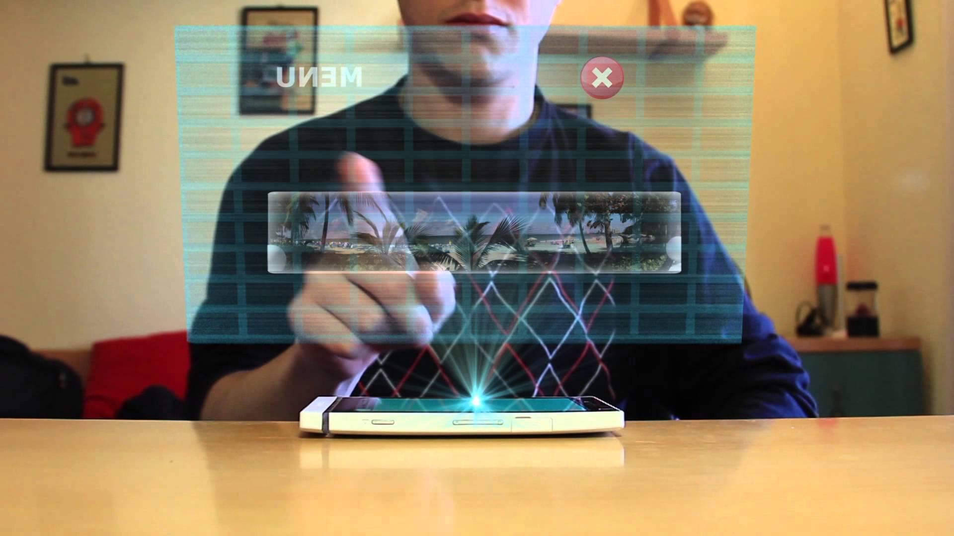 Un celular Android con pantalla holográfica