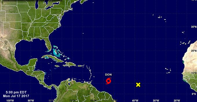 Se forma en el Caribe la tormenta tropical Don, la cuarta de la temporada