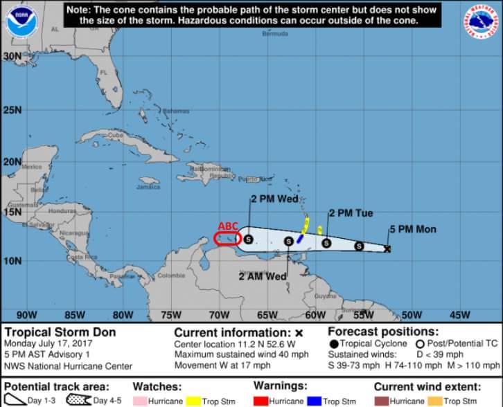 """La tormenta tropical """"Don"""" avanza hacia el este en el Caribe"""