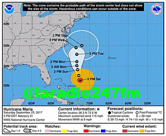 Costa este y sureste de EE.UU. podría recibir hoy marejadas del huracán María