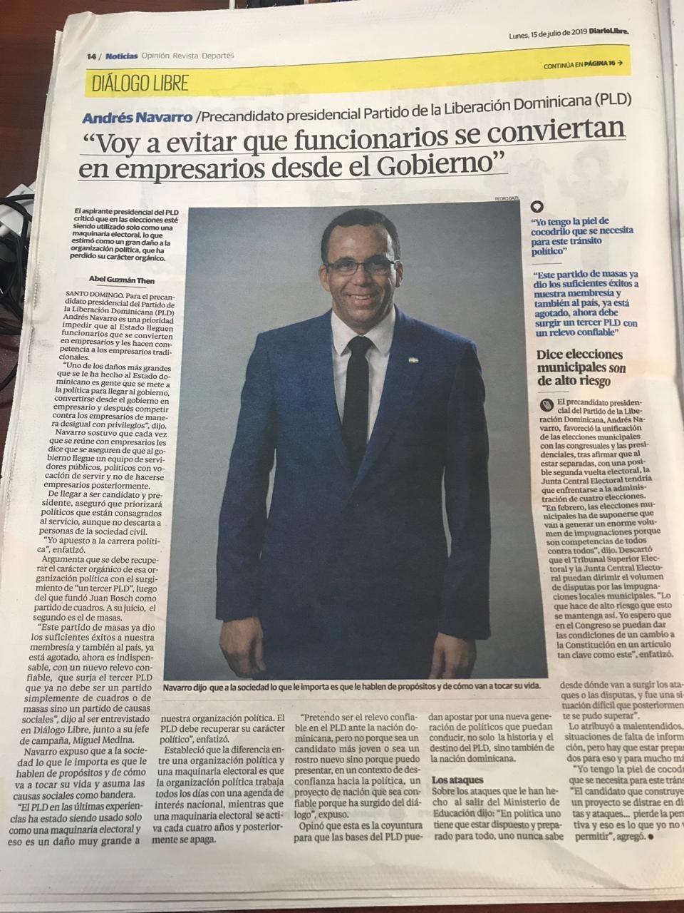 Andres Navarro Llego la hora del Relevo Politico en Rep Dom.