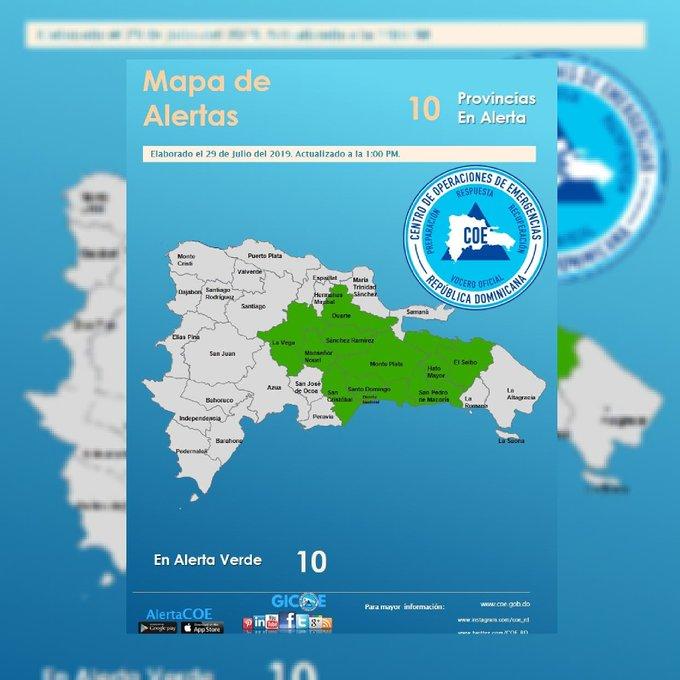 El COE emite alerta para diez provincias por vaguada y onda tropical