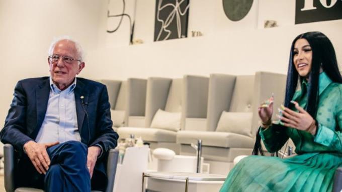 Senador de EEUU Bernie Sanders graba un video con Cardi B para su campaña a la Casa Blanca 1