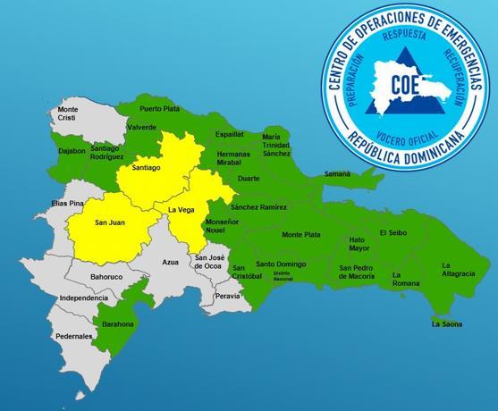 COE mantiene 23 provincias en alerta VERDE Y AMARILLA  por vaguada